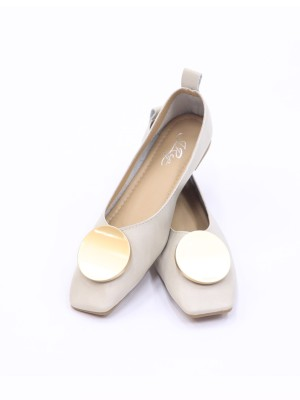 Round Bronze Acc Flat Shoes