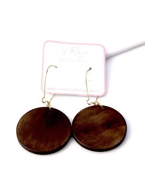 Big Round Wooden Drop Earrings