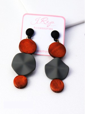 3-Rounded Wooden Drop Earrings