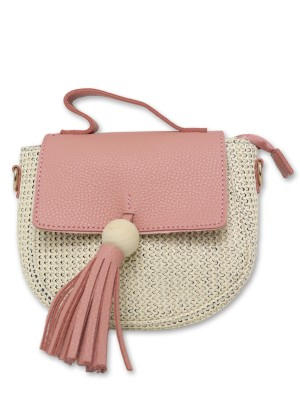 Fringe Flap Straw Mini Sling Bag