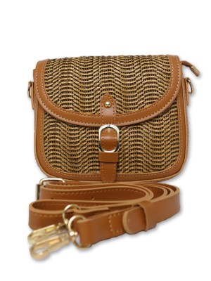 Flap Buckle Straw Mini Sling Bag