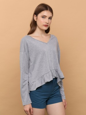 V-Neck Ruffle Edge Tee