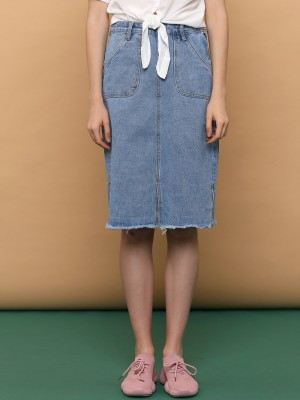 Waist Tied Denim Slim Skirt
