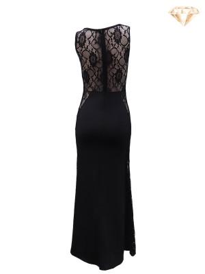 Long Sleeveless Cut-Out Lace Maxi Dress