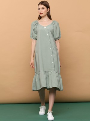 Off Shoulder Puffy Sleeves Dress