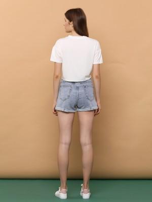 Folded Semi High Waist Denim Short