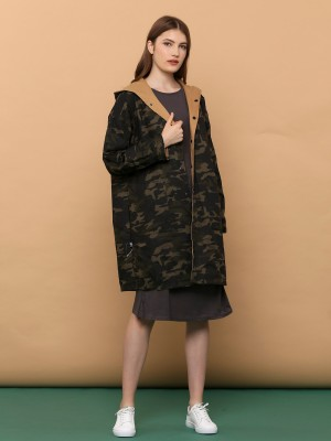 2 Ways Wear Long Outer Army Print