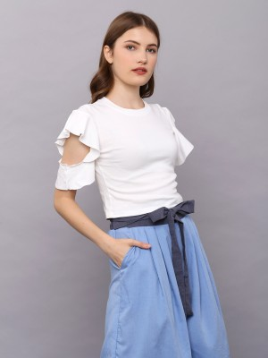 Side Ruffles Hole Crop Tee