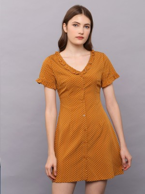 Ruffled V-Neck Short Sleeves Dress