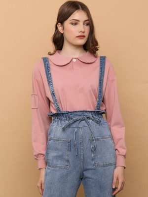 Peterpan Collar Crop Polo Sweater