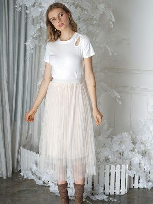Long Flare Tulle Skirt