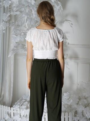 Off Shoulder Embroidered Crop Top