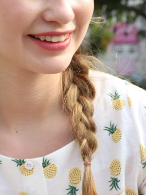 Pineapple Print Drawstring Crop Top
