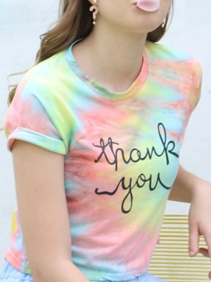 Thank You Liquid Surface Crop Tee
