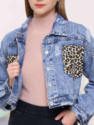 Tiger Print Pocket Ripped Jacket