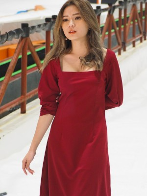 Rectangle Neckline Dress