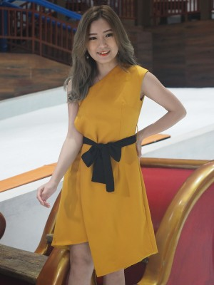 One Shoulder Layer With Belt Ribbon Dress