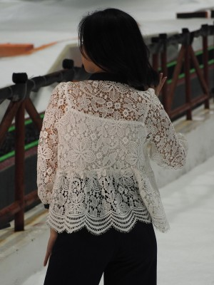 Embroidered Neck Tied Top