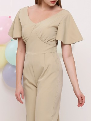 V Neck Flare Sleeves Jumpsuit