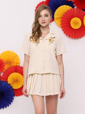 FC 2Pcs Set Bottom Pleats W/Embroidered Shirt
