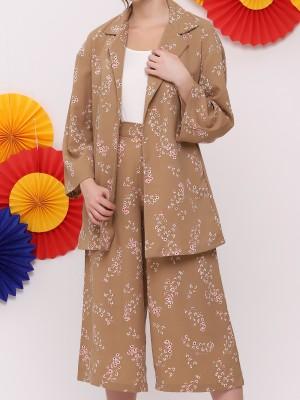 FC 2Pcs Set Flower Print Blazer W/Long Pants