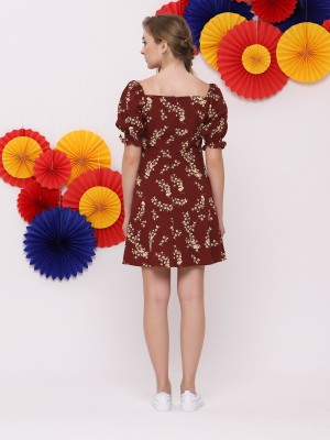 FC Flower Print Square Neck Dress