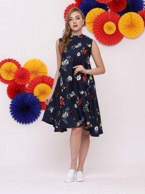 FC Semi High Neck Flower Print Dress