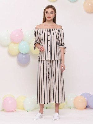2Pcs Set Off Shoulder Top W/Long Stripe Pants