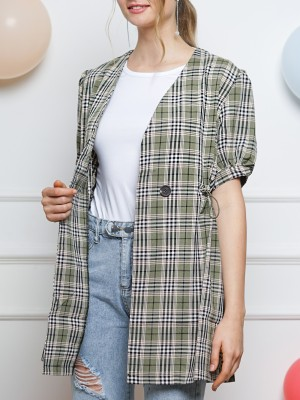 Waist Drawstring Checkered Outer