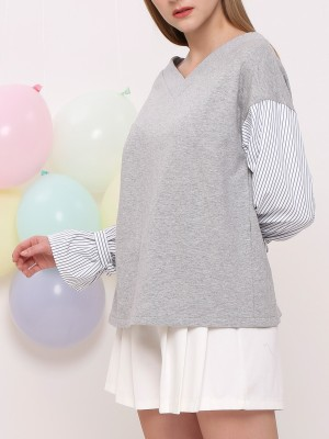 V- Neck Knitted Combi Top