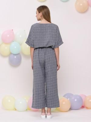 2Pcs set grid lines top with pants