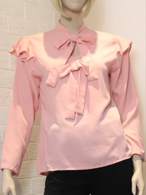Ruffled-Long Sleeves Front Bow Tie Top