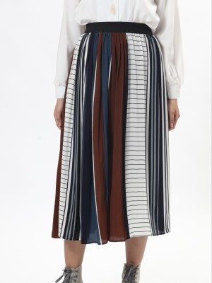 C-Bt Leb Prints And Tones Pleated Skirt