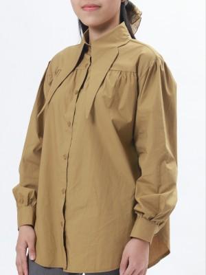 Long Collar Puff Long Sleeves Shirt