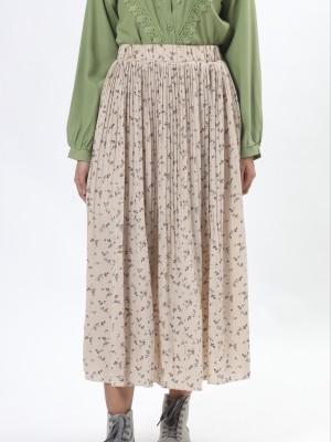 Flower Print Pleart Skirt