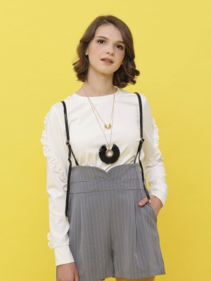 Leather Stripe Pinafore