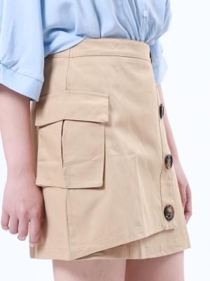 Button Up A Line Mini Skirt