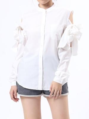 Cold Shoulder Tied Shirt