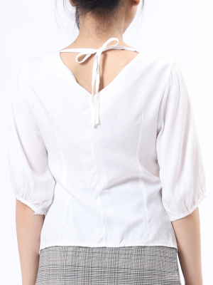 B-Sl Back Tied V Neck Shirt