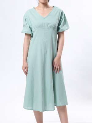 V Neck Flare Dress