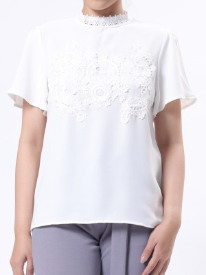 Semi Embroidered High Neck Top