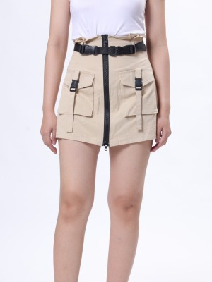Belted Front Zip Mini Skirt
