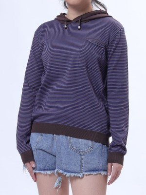 Hot Stripes Knitted Hoodie Top