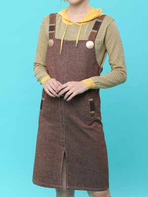 Metal Button Denim Pinafore