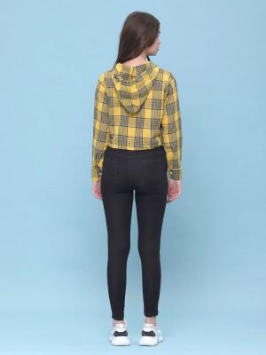 semi crop hoodie checkered shirt