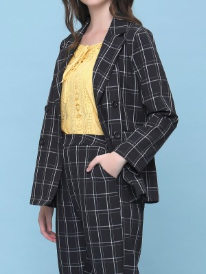 2 pcs grid lines blazer and pants