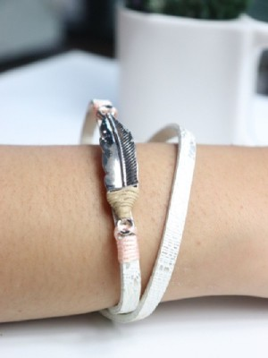 Feather friendship leather bracelet