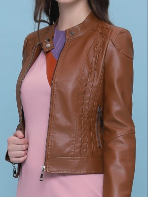 Synthetic Leather Slim Jacket