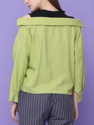 Mid Drawstring Cold Shoulder Top