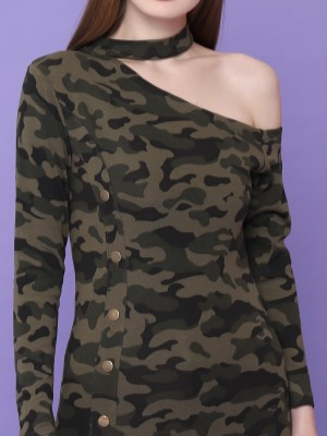 Camo Army Print Off Shoulder Mini Dress